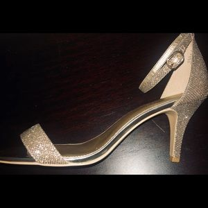 "Bandolino's gold sparkly 3"" strappy heels"